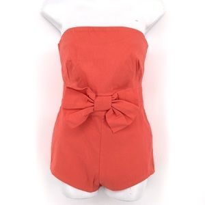 ASOS Playsuit Romper 6 Strapless Bow Shorts Coral